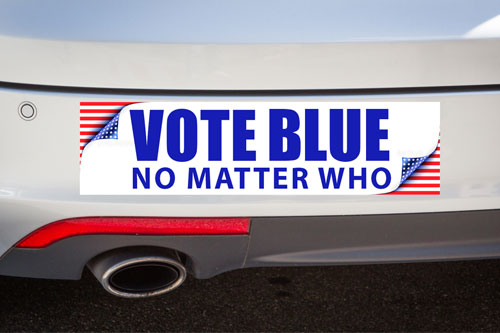 Vote Blue No Matter Who bumper sticker
